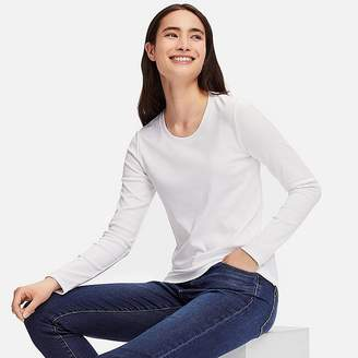 Uniqlo Women's Compact Cotton Crewneck Long-sleeve T-Shirt
