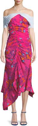Tanya Taylor Virgina Ruched Silk Off-the-Shoulder Dress
