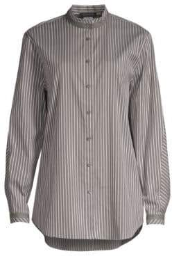 Lafayette 148 New York Lenno Metallic Stripe Poplin Blouse