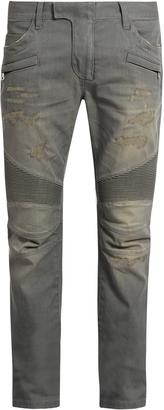 BALMAIN Distressed slim-leg biker jeans $941 thestylecure.com