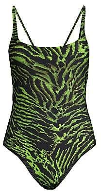 Ganni Women's Tiger-Print One-Piece Swimsuit