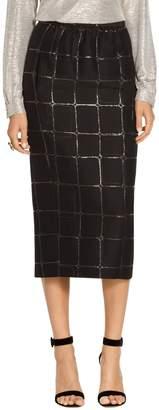 St. John Square Metallic Jacquard Shirred Waist Skirt