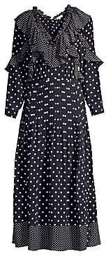 Rebecca Taylor Women's Long-Sleeve Ruffle Polka Dot Silk A-Line Midi Dress