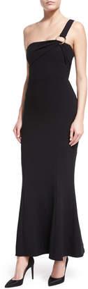 Diane von Furstenberg One-Shoulder Flounce-Hem Crepe Evening Gown