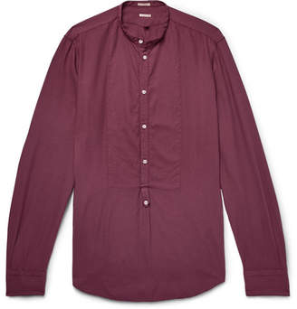 Massimo Alba Vasells Grandad-Collar Poplin-Trimmed Modal And Cotton-Blend Twill Half-Placket Shirt