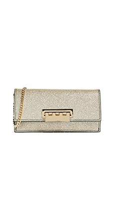 Zac Posen Earthette Flat Clutch Crossbody Glitter