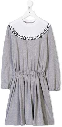 Fendi logo embroidered gathered dress