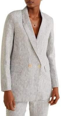 MANGO Faro Pinstripe Linen Blazer