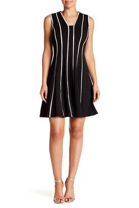 Gabby Skye Contrast Stripe Flared Hem Dress