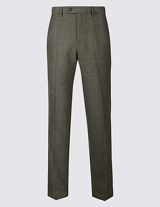 M&S Collection Regular Fit Wool Blend Flat Front Trousers
