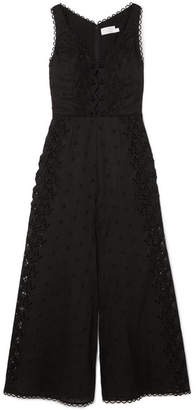 Zimmermann Broderie Anglaise Cotton-trimmed Linen Jumpsuit - Black