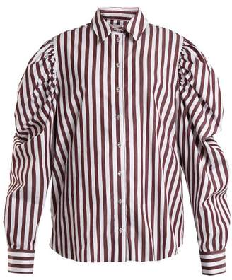 Marques Almeida Marques'almeida - Puff Sleeved Striped Cotton Shirt - Womens - Burgundy White
