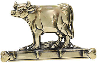 One Kings Lane Vintage Antique English Brass Cow Wall Hook - Rose Victoria