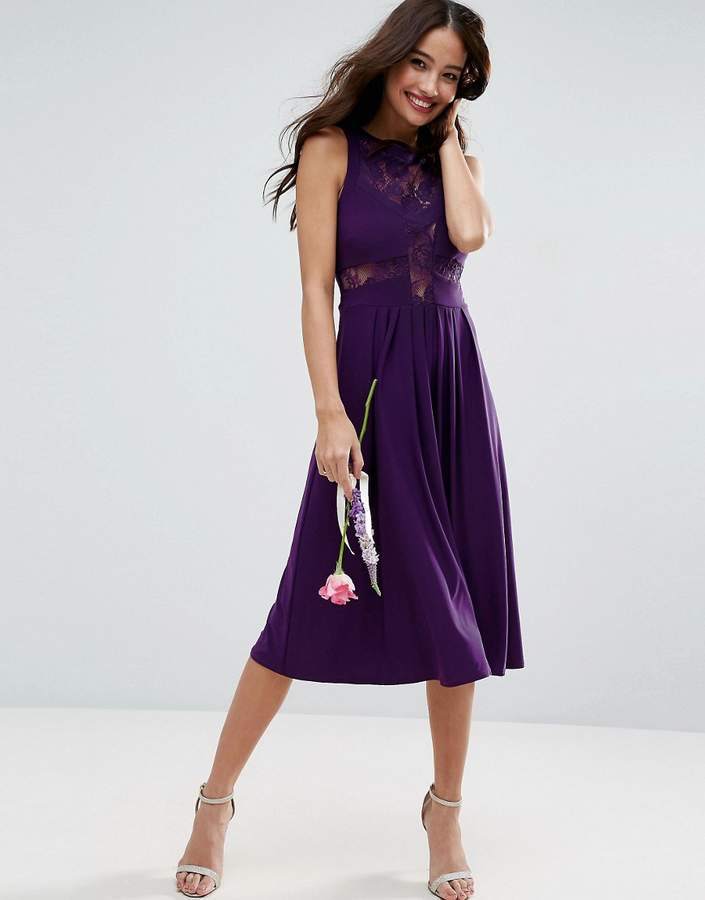 AsosASOS WEDDING Lace Jersey Pleated Midi Dress