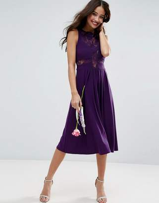 Asos Design Bridesmaid Lace Jersey Pleated Midi Dress