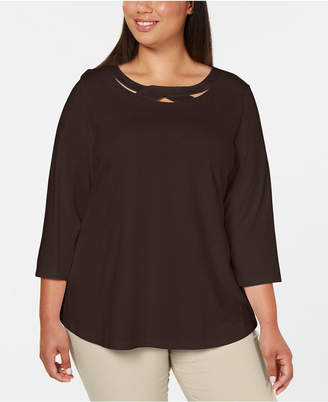Karen Scott Plus Size 3/4-Sleeve Cutout Top