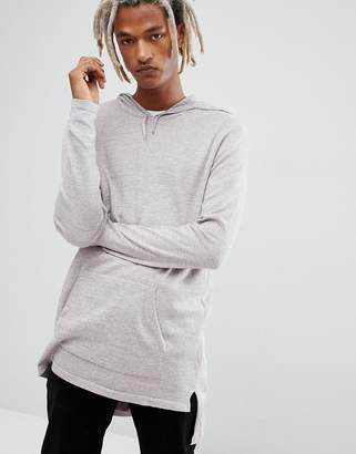 Asos Knitted Longline Hoodie in Pink and Gray Twist