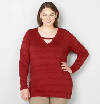 Avenue Chevron Stitched Keyhole Neck Sweater