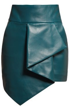 Alexandre Vauthier High Rise Asymmetric Hem Leather Skirt - Womens - Blue