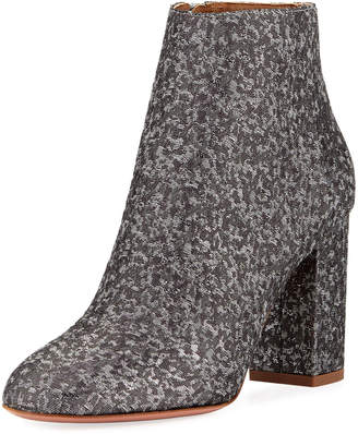Aquazzura Brooklyn Block-Heel Brocade Bootie