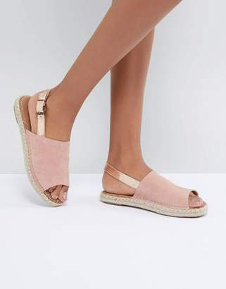 Toms Bloom and Rose Gold Back Strap Espadrilles