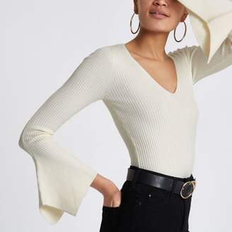 River Island Womens Cream knit rib flute sleeve V neck top