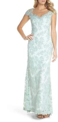 Tadashi Shoji Embroidered Corded Lace Gown