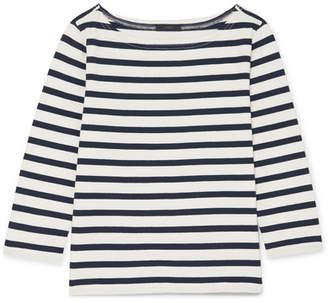 J.Crew Striped Cotton-jersey Top - White