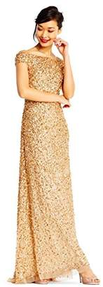 Adrianna Papell Women's Off The Shoulder Crunchy Bead Gown