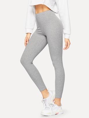 Shein Ribbed Knit Solid Leggings
