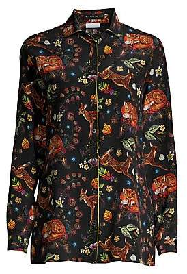 Etro Women's Deer Print Silk Blouse