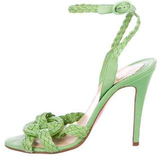 Christian Louboutin Braided Leather Embellished Sandals