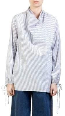 Loewe Draped Silk Stripe Top