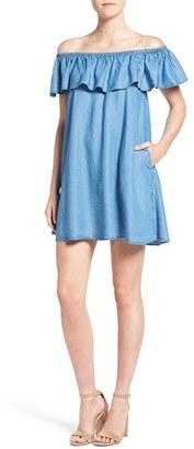 Women's Rebecca Minkoff Dev Chambray Off The Shoulder Trapeze Dress $198 thestylecure.com