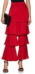 Osman Women's Felix Satin Flounce Pants - Red