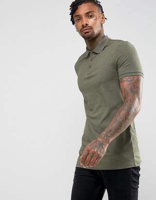 Asos Design DESIGN longline muscle fit jersey polo in khaki