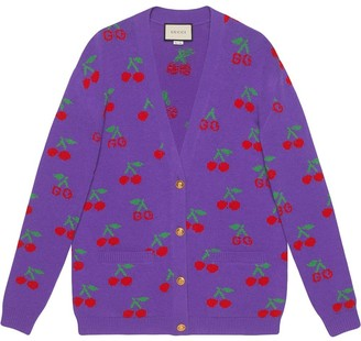 Gucci Wool cardigan with GG jacquard cherries
