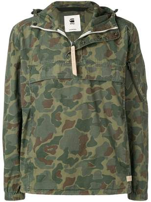 G Star Research camouflage print hooded jacket