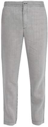 120% Lino Slim Leg Striped Linen Trousers - Mens - White Multi