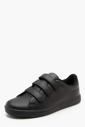 boohoo Faux Leather Triple Velcro Trainer
