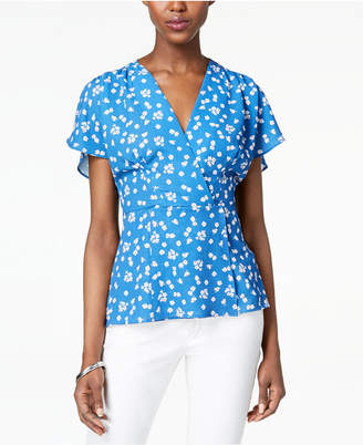 French Connection Flutter-Sleeve Wrap Top