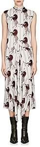 Chloé Women's Striped Horse-Print Silk Sleeveless Dress - Wht, Brn