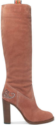 Etro Embroidered Suede Knee Boots - Pink