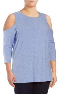 Vince Camuto Plus Three-Quarter Sleeve Cotton Cold Shoulder Top