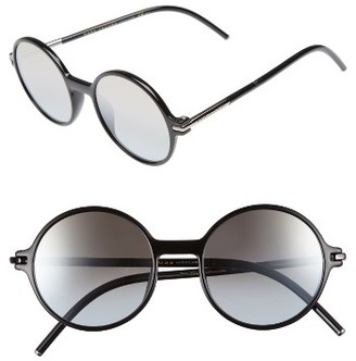 Women's Marc Jacobs 52Mm Round Sunglasses - Black/ Brown/ Gold Mirror $160 thestylecure.com