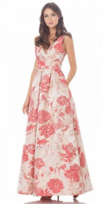 Carmen Marc Valvo Infusion Floral Print A Line Prom Dress $475 thestylecure.com