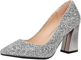 91f6073febb Agodor Women s High Block Heel Glitter Wedding Pumps Closed Toe Elegant  Shoes
