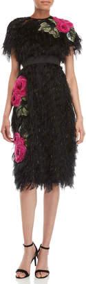Dolce & Gabbana Black Fringe Eyelash Floral Dress