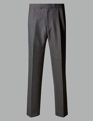 Marks and Spencer Charcoal Regular Fit Wool Blend Trousers