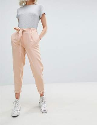 Pull&Bear tie waist tapered PANTS in pink